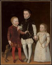 Portrait of three noble children, full-length, with dog