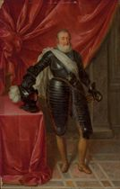 Portrait of Henry IV (1553-1610), King of France, standing full-length, in armor, wearing the Order of the Holy Spirit