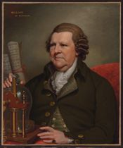 Portrait of Sir William Franklin of Muntham Court, Sussex (1720-1805), seated half-length, his hand resting on a pressure pump, with two inscribed scrolls behind