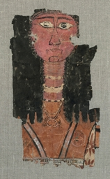 AN EGYPTIAN PAINTED LINEN FUNE