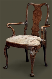 A GEORGE II WALNUT AND BURR WA