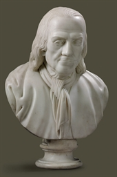 A WHITE MARBLE BUST OF BENJAMI