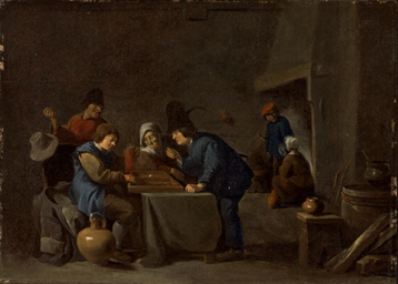Peasants playing backgammon in