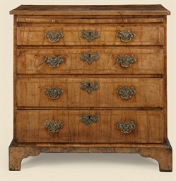A GEORGE II WALNUT CHEST-OF-DR