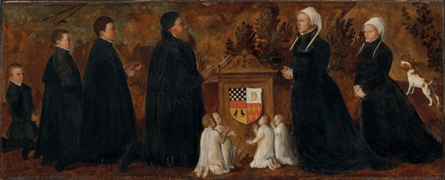 A family of donors at an altar
