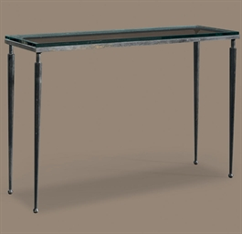 A METAL AND GLASS TABLE