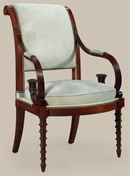 A FRENCH MAHOGANY FAUTEUIL