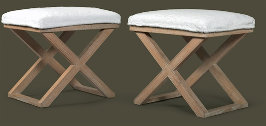 A PAIR OF LIME-WASHED OAK STOO