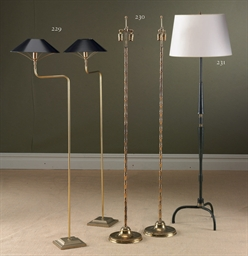 A PAIR OF BRASS STANDING LAMPS