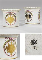 Two rare porcelain armorial cache-pots from the service of C