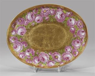 A porcelain gilt platter