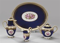 Part of a cobalt porcelain Solitaire Service