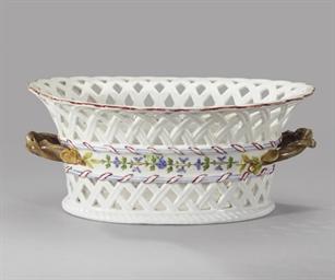 A porcelain basket with cornfl