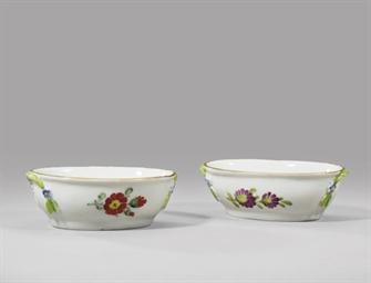 Two porcelain salt-cellars