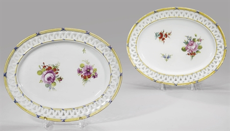 Two porcelain dessert dishes