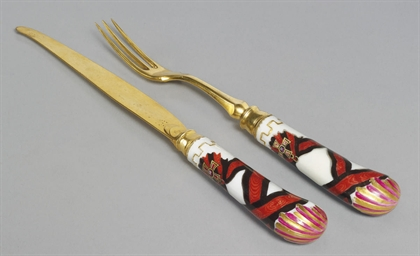 A silver-gilt knife and fork w