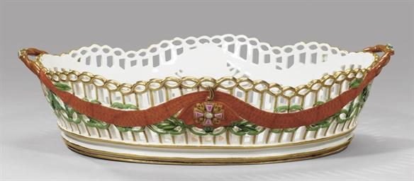 A large porcelain basket from