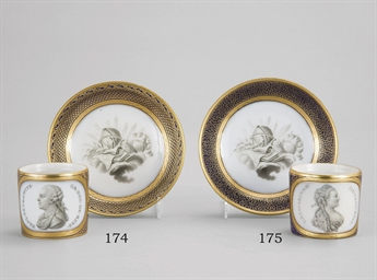 A porcelain cup and saucer wit