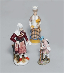 TWO PORCELAIN FIGURES OF WOMEN