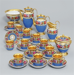A porcelain tea and coffee set