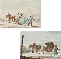 Ice carriers; and Peasants in a troika giving directions to a traveller