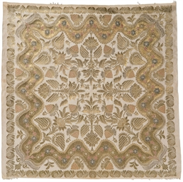 An ivory silk brocaded cover