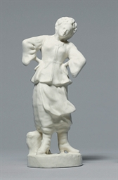 A BISCUIT PORCELAIN MODEL OF A