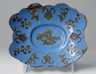 A rare enamelled shallow dish