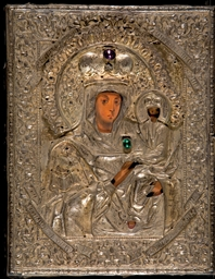 A jewelled parcel-gilt icon of