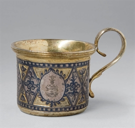 A silver-gilt and niello handl