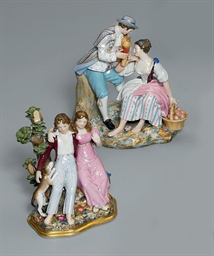 TWO PORCELAIN GROUPS OF YOUNG