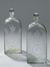 A PAIR OF LARGE VODKA FLASKS
