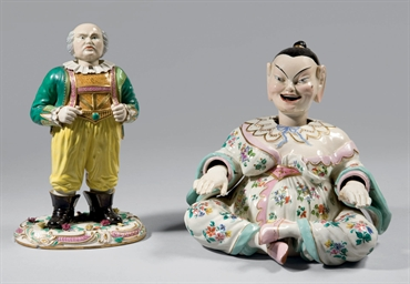 Two articulated faience figure