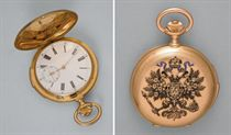 An 18ct gold hunter cased keyless lever minute repeating pocket watch