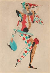 Harlequin in red and blue