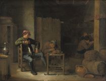 Boors drinking and smoking in a tavern