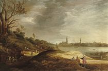 A river landscape with farmers harvesting, a 'capriccio' of Antwerp in the distance