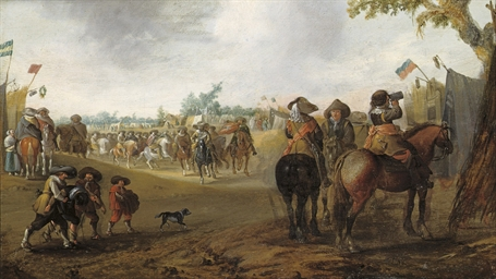 A military encampment with cav