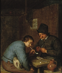 Two peasants smoking in an int