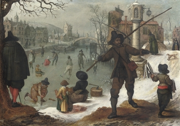Skaters on a frozen waterway i