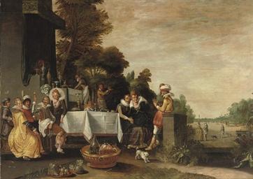 A merry company in a garden