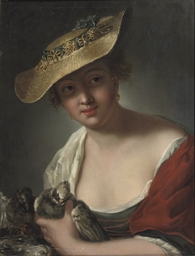 A woman with doves