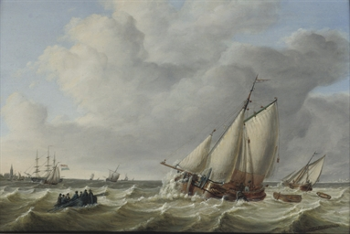 Sailing vessels in choppy seas
