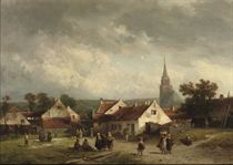 A view of Scheveningen with figures strolling