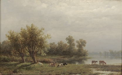 Cattle by a river