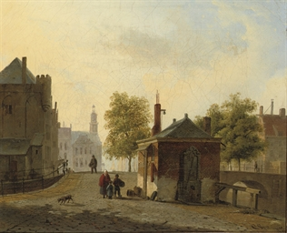 Townspeople in a sunlit Dutch