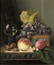 Grapes, peaches, a 'Roemer' and an ornamented silver casket on a wooden, partially draped ledge