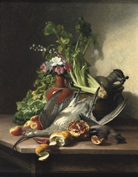 A woodcock, a jay, vegetables,