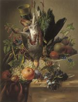 A partridge, a plover, fruit and flowers