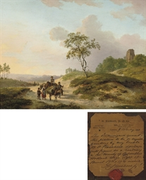 Landscape with figures on a ro